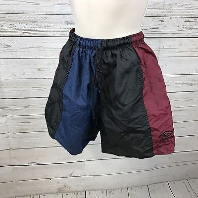 VIntage Umbro Call out Shorts Soccer Maroon Blue Black Made in USA Youth XL