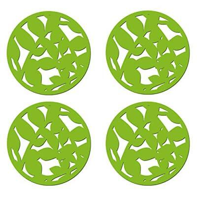 Set of 4 GREEN LEAF FELT Laser Cut Out ROUND COASTERS by Creative Tops (Q7S)