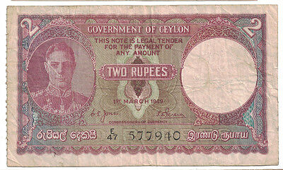 Ceylon - 1.3.1949 Two Rupees Banknote (P-35)