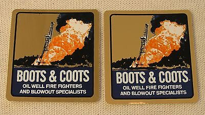 Boots & Coots - 2 Hardhat Decal Stickers - Oil Field Gas Well Firefighters