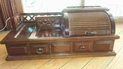 Large Antique Vintage 15X7 Inch Roll Top Desk Jewelry Box-Gently Used,clean