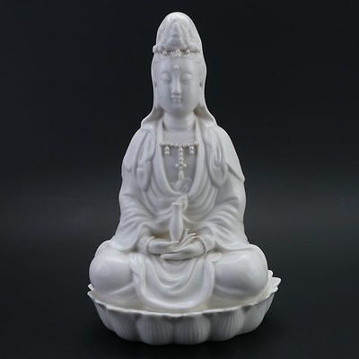 Old Collection Chinese Dehua porcelain Handwork Statues -- Guanyin