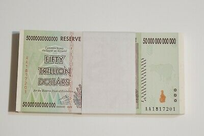 10 x 50 Trillion zimbabwe 2008 series AA- /100 Trillion series circ sequential