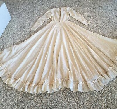 "VTG Cream Ivory BEAUTIFUL 1930~40's FULL Bridal Gown ALL Silk Wedding Dress 25""w"