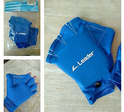 Water Aquatic Swimming Fitness Training Gloves ~ Blue Webbed ~ Medium ~ NWT