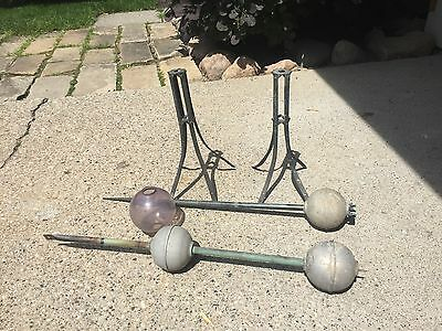 Lot Of Vintage Lightning Rod Parts, Stands/Tubes/Balls/ Architectural Salvage.