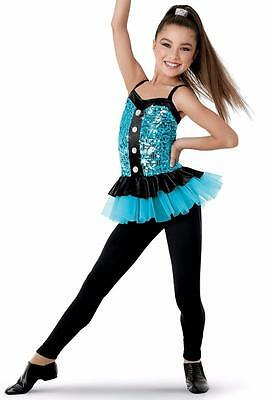 Dance Costume Small Adult Blue Sequin Unitard Skirt Jazz Tap Solo Competition