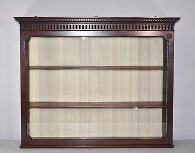 Antique Walnut Three Shelf Wall Curio Cabinet Glass Front and Sides