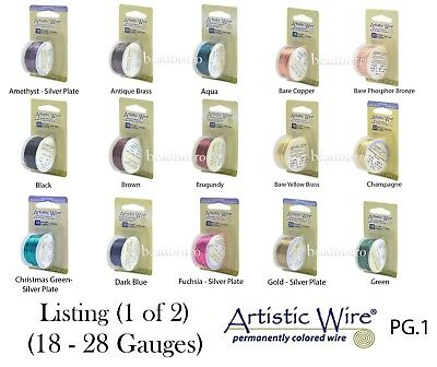 Artistic Wire Tarnish Resistant SILVER Plated Wire ~ 46 COLORS  (18 - 28 Gauges)