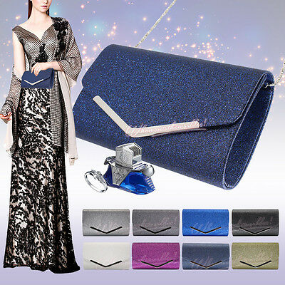 Womens Glitter Sparkle Prom Wedding Party Evening Clutch Handbag Bridal Purse