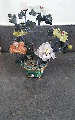 Chinese Antique Early 20Th Century Jade Tree In Cloisonne Planter Pot