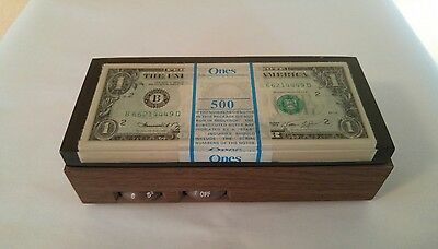Vintage 1970's Windsor Industries AM Radio 500 Dollar Bills ( Faux) in Lucite
