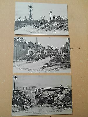 Vintage Postcards Military: Set Of 3 Ww1 Postcards Of The Somme Ruins - Railroad