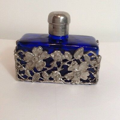Cobalt Blue Glass Perfume Bottle with Silver Tone Filigree Flowers