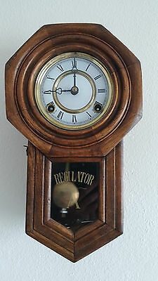 Vintage Regulator A Winding Pendulum Wall Clock With Chime Antique Works