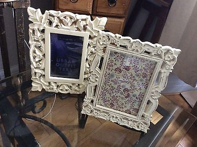 Pair Of Cream Wood Picture Frames Shabby Chic Style