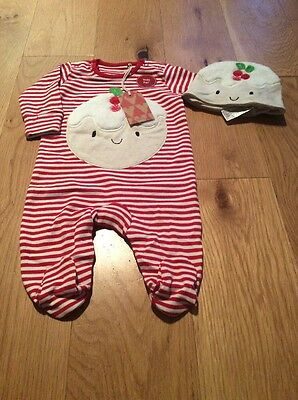 Next Baby Neutral Christmas Pudding Sleepsuit 0-3 Months BNWT