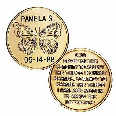 Custom Personalized Engraved Miracle Butterfly with Serenity Prayer Medallion