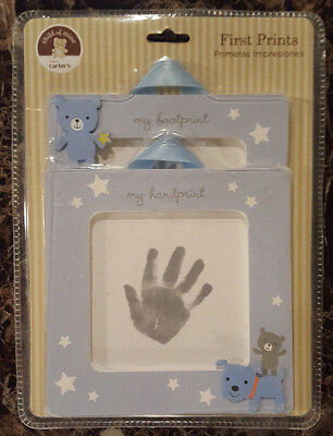 Carters Baby's First Prints Kit Hand Foot Prints Frames Child of Mine Blue Boys