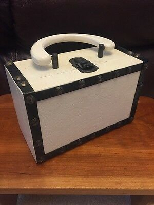 Vintage An Olympic Accessory White Wood Box Purse Made In Japan