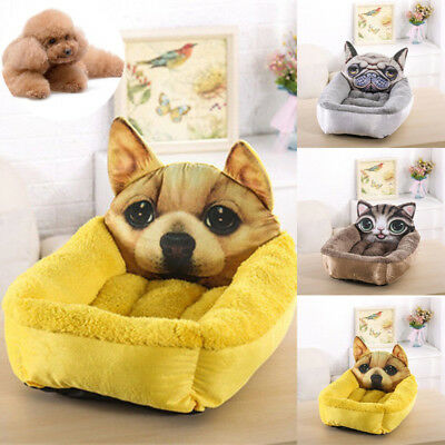 3D Cartoon Cute Pet Bed Bed Pad Dog Cat Cage Kennel Crate Warm Cozy Soft House