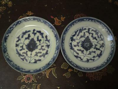 19th century Chinese scrolling lotus pattern blue & white porcelain plates dish