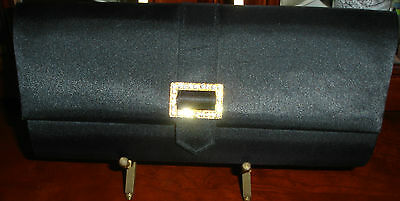 Evening Purse Black Formal Clutch with Strap, Clasp Silky Finish Clean Used Once