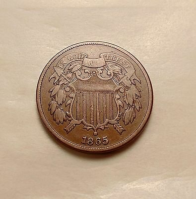 1865 Two Cents - Plain 5 RPD - Nice Looking Coin