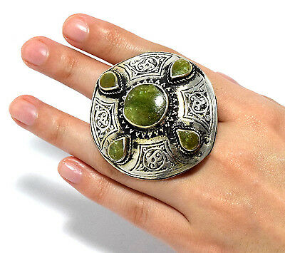 Green Jade Stone Afghan Kuchi Ring Ethnic Bohemian,Jewelry Carved Tribal Boho