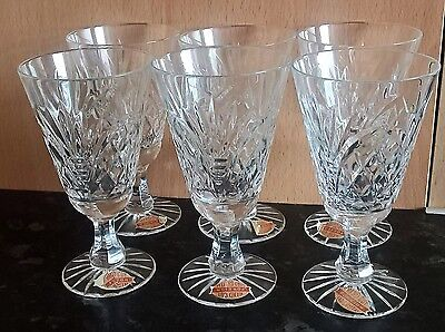 Set Of 6 X Vintage Lead Crystal Sherry Glasses