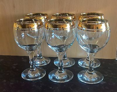 Set Of 6 X Vintage Gold Plated Wine Glasses