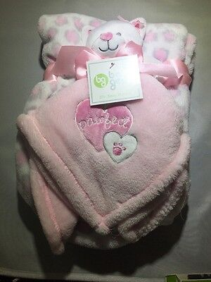 """Baby Gear Pink Infant Bear Security Blanket  """"PAWFECT"""" 2 Pc NWT"""