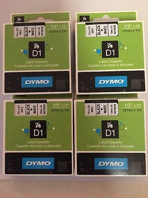 "Lot Of 4 Dymo D1 Labels Black On White Labeling Tape 45013 1/2"" W X 23' New"