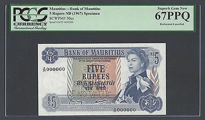 Mauritius 5 Rupees ND(1967) P30cs Signature 4  Specimen Perforated Uncirculated