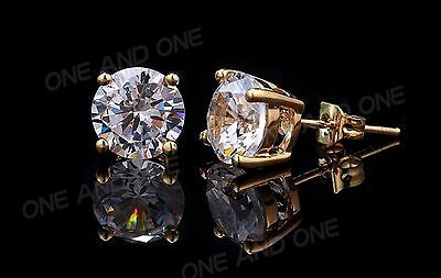 1Ct. Round Cut Created Diamond Earrings 14K Yellow Gold Studs Briliant Solitaire