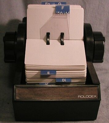 ROLODEX 2254 rotary black metal vintage faux wood trim cards, tabs, file, no key