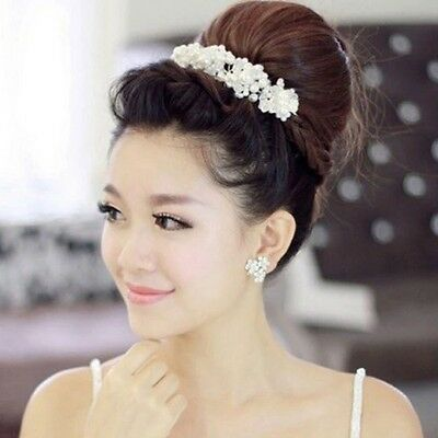 Bridal Hair Accessories Wedding Headpiece Pearl Crystal Flower Headband Tiara