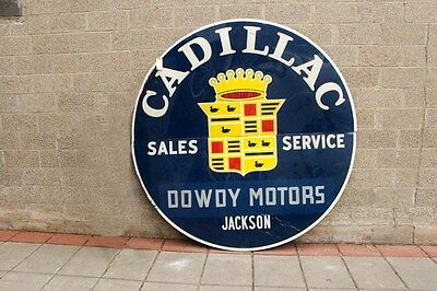 Old 1940's-1950's Cadillac sign , look @ my other porcelain neon ebay auctions