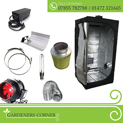 New Complete Set Hydroponic Grow Room Tent Fan Filter Light Kit 1.2m x 1.2m x 2m