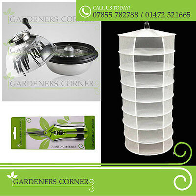 Hydroponics Leaf Bud Trimmer Cutter Trimming Bowl Spin Pro & 8 Tier Dry Net Set