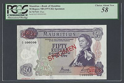 Mauritius 50 Rupees ND(1973-82) P33cs Specimen TDLR N002 About Uncirculated