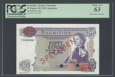 Mauritius 50 Rupees ND(1967) P33as Specimen TDLR Uncirculated