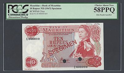 Mauritius 10 Rupees ND(1967) P31cs Specimen TDLR About Uncirculated