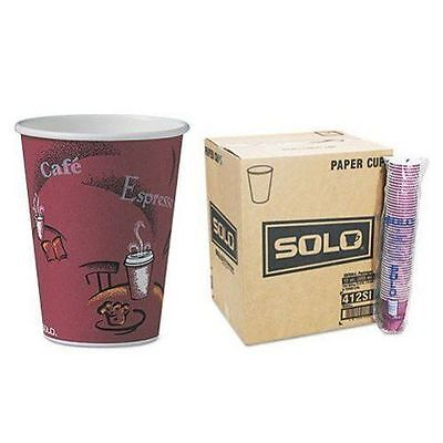 300 Cups Solo Bistro Design Hot Drink Cup Disposable Paper Beverage 12 oz Coffee