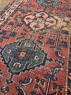 Antique Hand Knotted Wool Persian Rug Shabby Chic Distressed Boho VTG 2.5 x 3.75