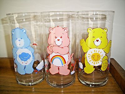 3 Pizza Hut Care Bear Glasses. Funshine, Grumpy And Cheer Bears  1983