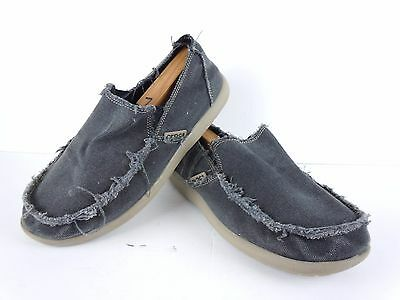 Mens Crocs Distressed Grey Canvas Slip On Fashion Sneakers Size 12 D