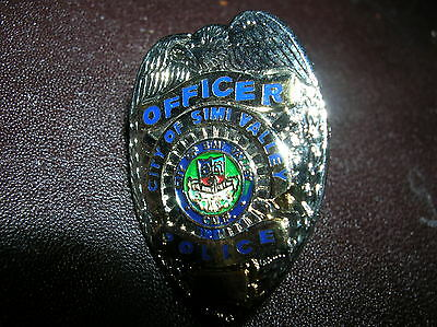 """SIMI VALLEY City CALIFORNIA Silver Police Officer  Mini Badge PIN Tie Tac NEW 1"""""""