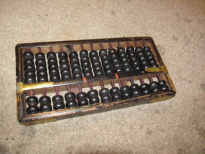 old antique vintage chinese china abacus 91 black beads wood with brass body
