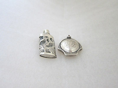 Pair Vintage Sterling Silver Taxco Mexico Perfume Oil Vile  Bottles Jeweled top